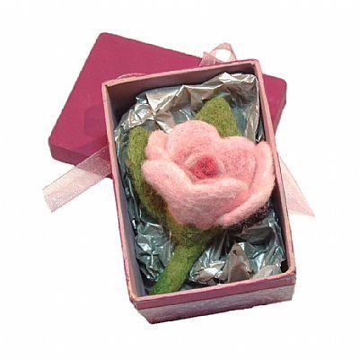 pale pink felt rose brooch in gift box by roses felt workshop