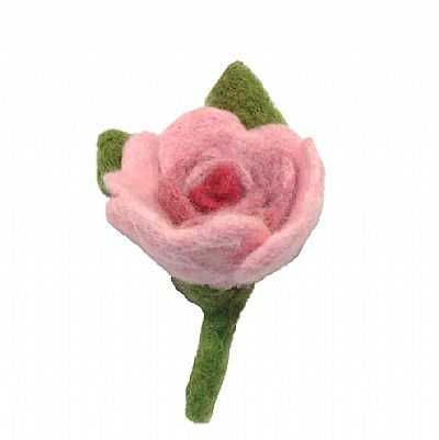 needle-felted rose in pale pink grading to dark pink at centre