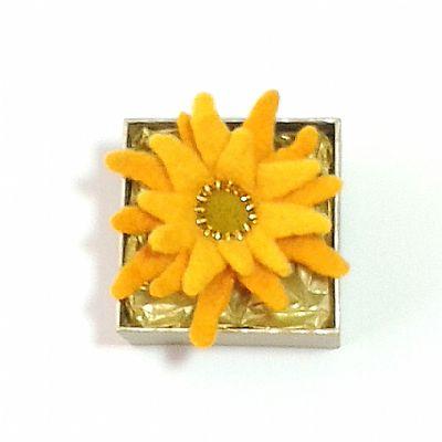 felt sunflower brooch by roses felt workshop