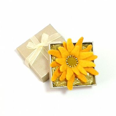 sunflower brooch in gold gift box