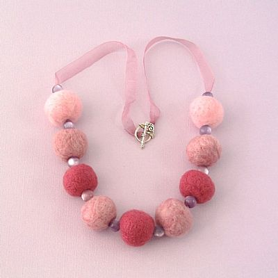 pink necklace felt beads and ribbon
