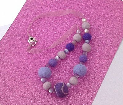 purple felt bead necklace by roses workshop