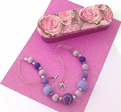 purple felt bead necklace in pink rose gift box by roses felt workshop