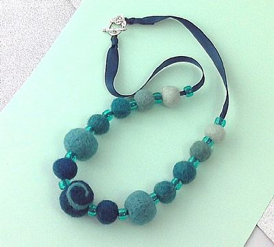 sea green felt bead necklace by roses felt workshop