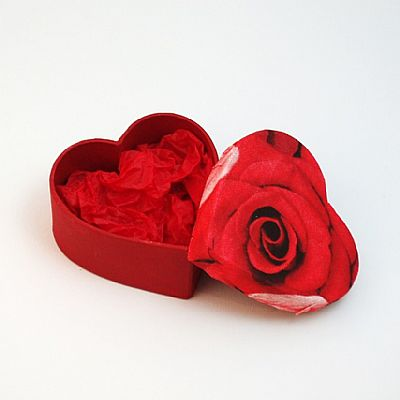 heart shaped gift box decoupaged with red rose
