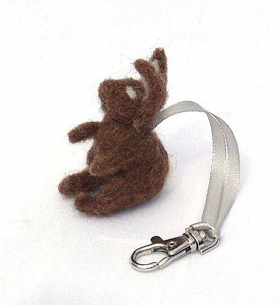 needle-felted rabbit bag charm by roses felt workshop