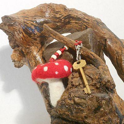 felted pixie toadstool bag charm by roses felt workshop