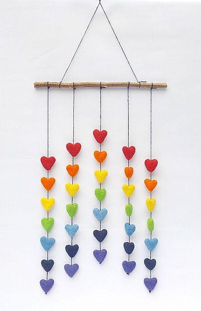 rainbow hearts felt mobile by roses workshop