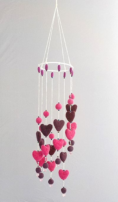 spiral felt hearts mobile by roses felt workshop