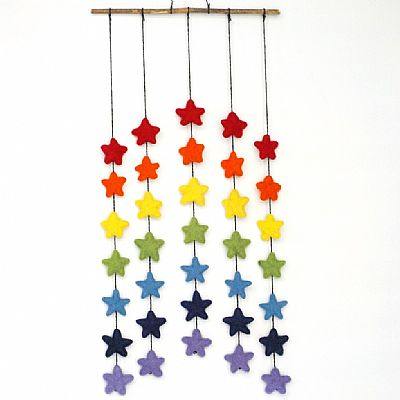 rainbow of stars felt mobile by roses workshop