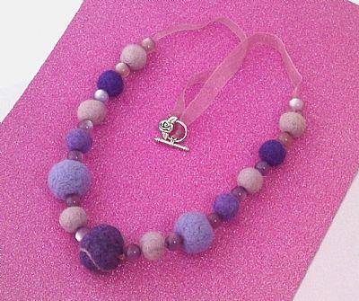 purple felt bead necklace by roses workshop