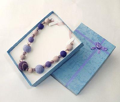 purple felt bead necklace in gift box