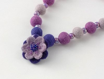 purple flower felt necklace by roses felt workshop