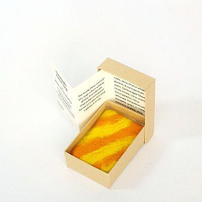 orange and lemon felted soap in gift box by roses felt workshop