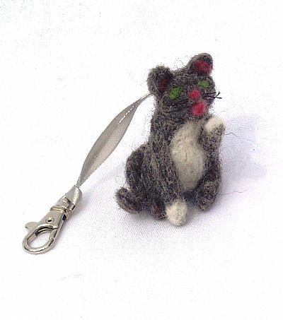 grey needle-felted kitten bag charm by roses felt workshop