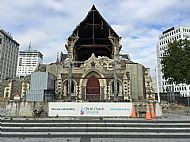 Gaping hole in the gable of Christchurch Cathedral