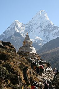 Pangboche Stupa and Ama Dablam