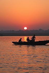 Sunrise over the Ganges. Varanasi.