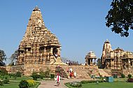 Khajuraho. Kandariya Mahadeva (left) and Devi Jagdambe Temples
