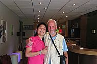 With Rachel, Receptionist at Ibis Gare, Toulouse, who was a great help in locating my lost rucksack