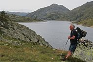 Jamie at the Etang de Lanos - the largest lake along the GR10