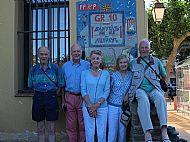 Hec, Angus, Jane, Julia, JMGG at the Banyuls GR10 destination notice.