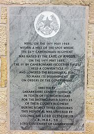 Plaque on Cairn at Douglas.