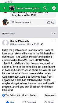Joseph Lakeland from daughter Elizabeth Hindle.
