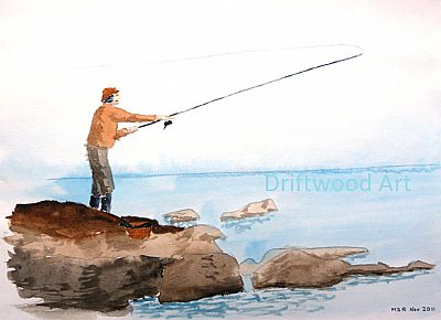fly fishing sketch