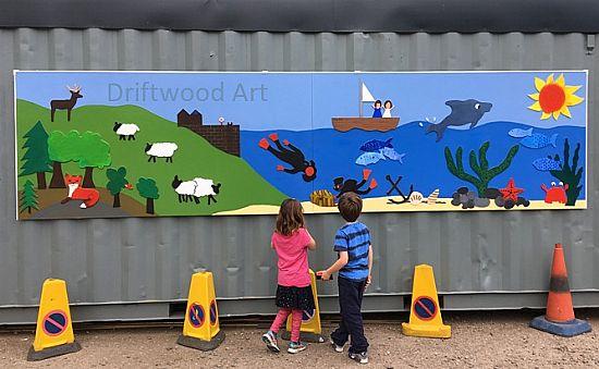 mural and grandchildren