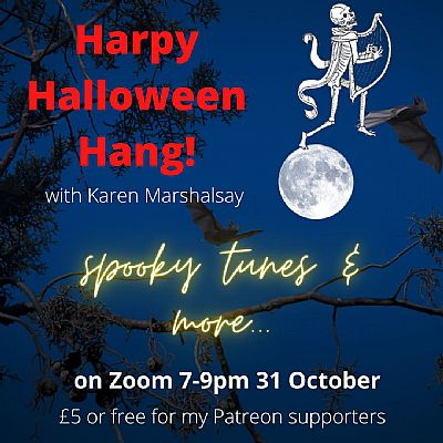 poster for harpy halloween hang! with karen marshalsay