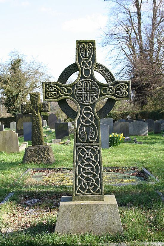 celtic cross in the churchyard