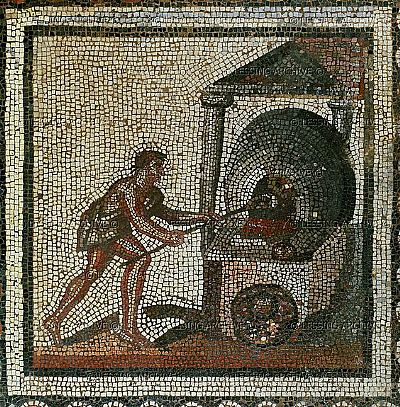 a roman mosaic depicting putting bread into an oven