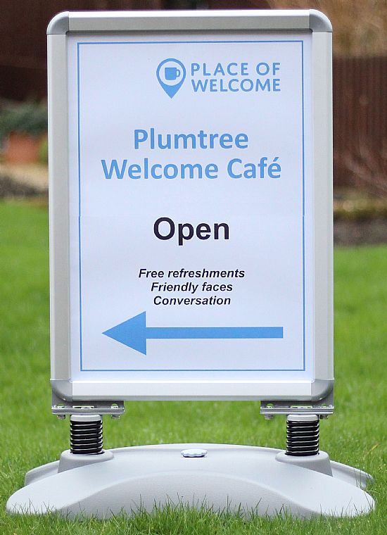 plumtree welcome cafe sign