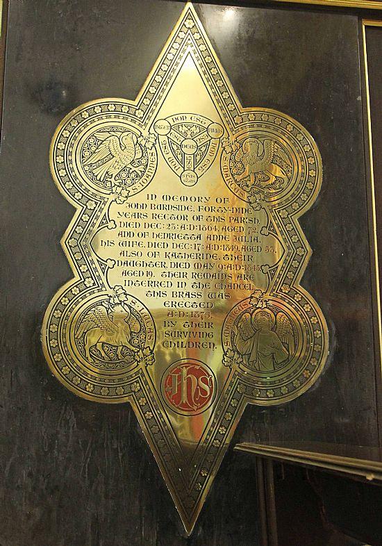 burnside plaque in the chancel