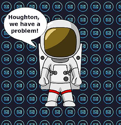 astronaut declaring a problem, set against email logo background
