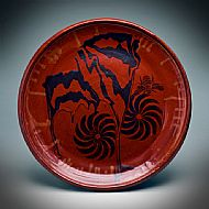 Hand-thrown platter with swirls, d. 19.5 inches, 50 cm