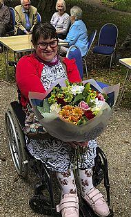Chloe with Kathryn's flowers