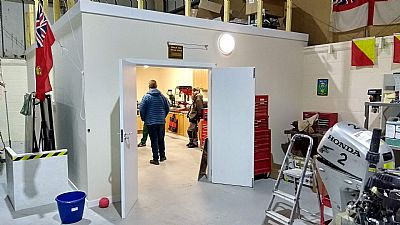 the partially completed men's shed in the avoch community centre