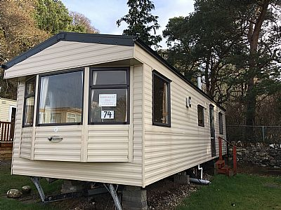 outside front of the caravan