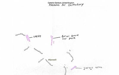 image showing alternative parking for cemetery including layby on hipswell road and old garage area down st john's road
