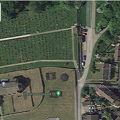 aerial photograph showing cemetery and burial board car park down hall lane