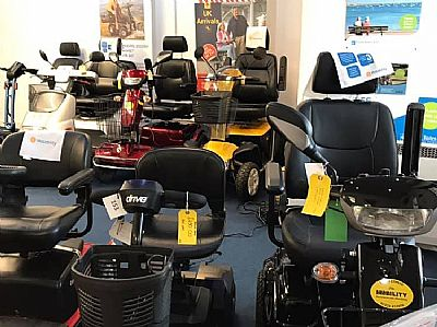 some of the mobility scooters on display at city mobility