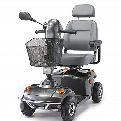 grey mobility scooter with mirror and basket