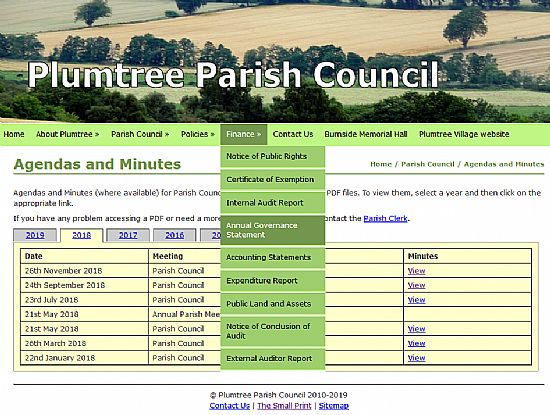 screenshot of pariosh council website