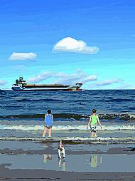Paddlers on Sputie Beach