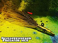 olive / yellow bucktail jig