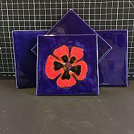 Cobalt Poppy Square Coaster Set