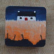 cottage with orange field brooch