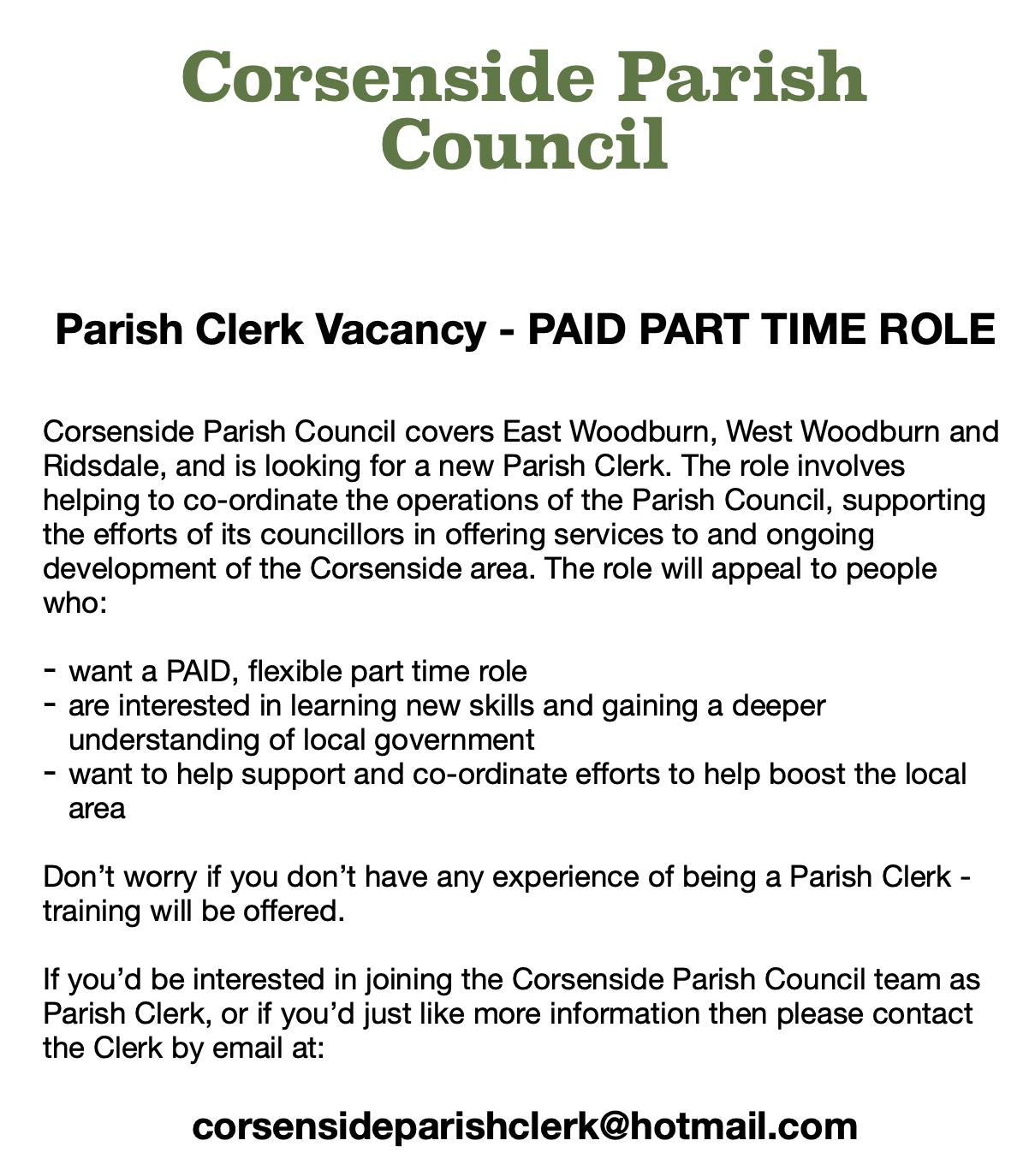 corsenside clerk vacancy ad